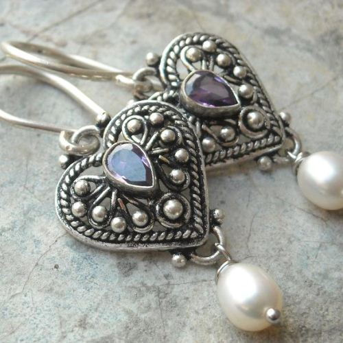 Ethnic artisan earrings Amethyst earrings