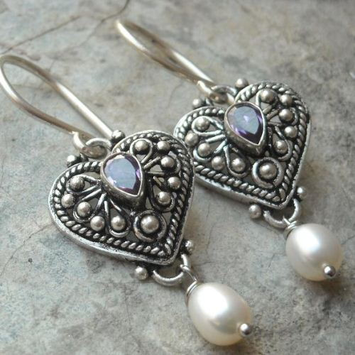 Ethnic Earrings Amethyst Pearl Silver