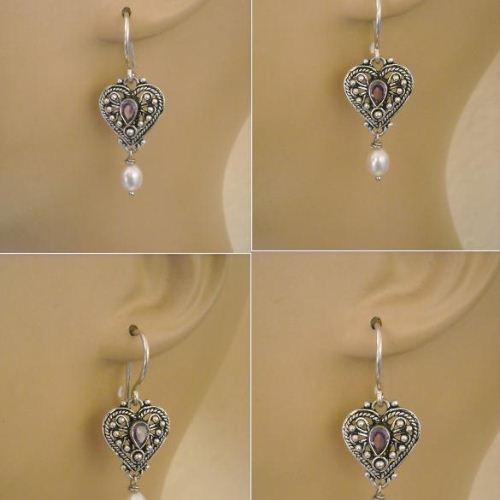 Ethnic Earrings Amethyst Pearl Silver