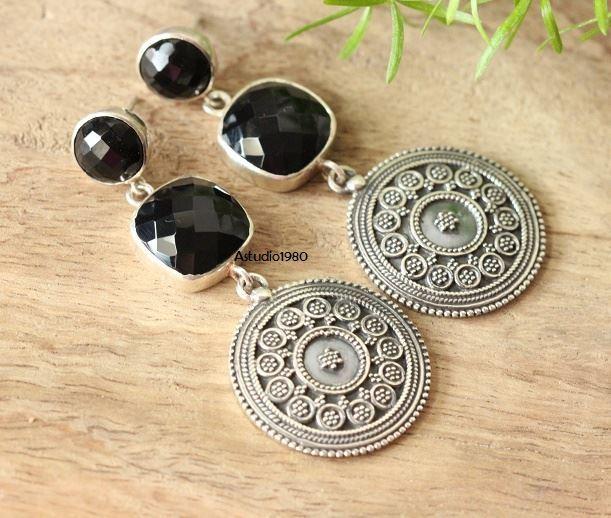 d4c80a2d6850e Buy Ethnic artisan jewelry earrings, Black Onyx silver earrings Online at  aStudio1980.com