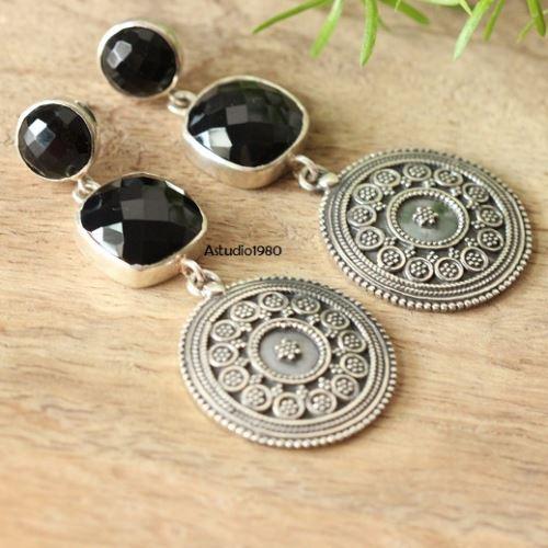 Ethnic Jewelry Earrings Black Onyx Silver