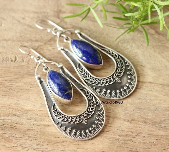 Ethnic artisan jewelry earrings blue