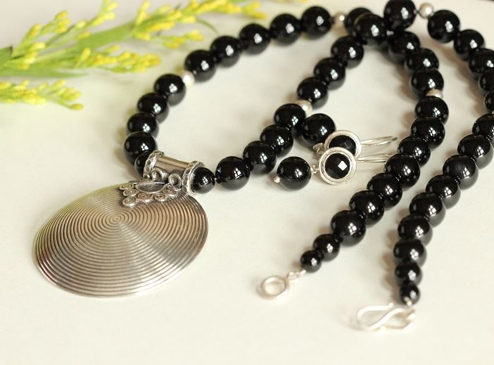 Ethnic sterling silver black onyx