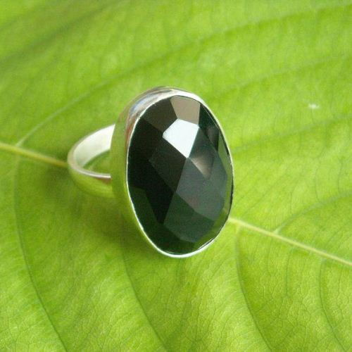 Faceted Black Onyx Ring Black
