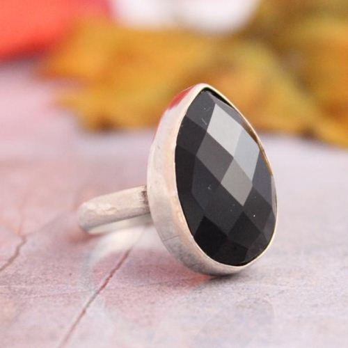 Faceted Black Onyx Ring Sterling