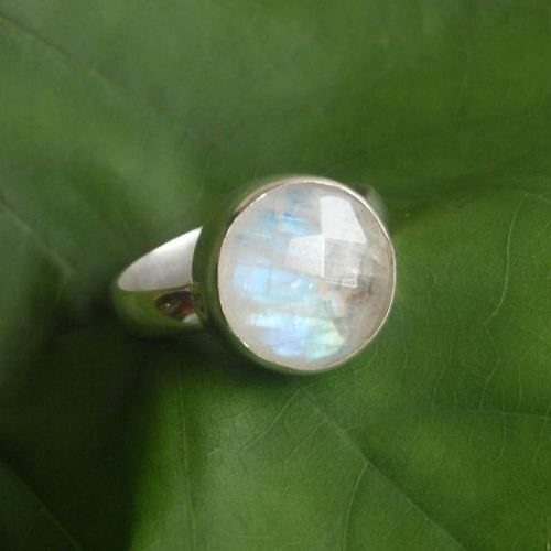 Faceted Rainbow Moonstone Ring Round