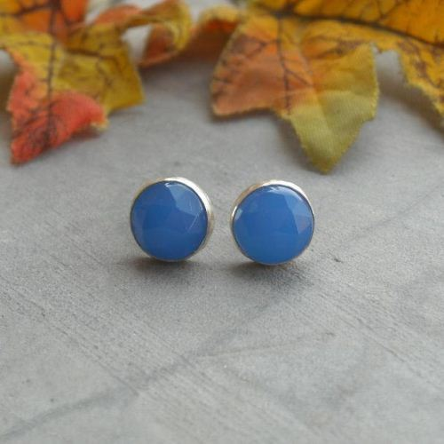 Faceted blue chalcedony earrings sterling