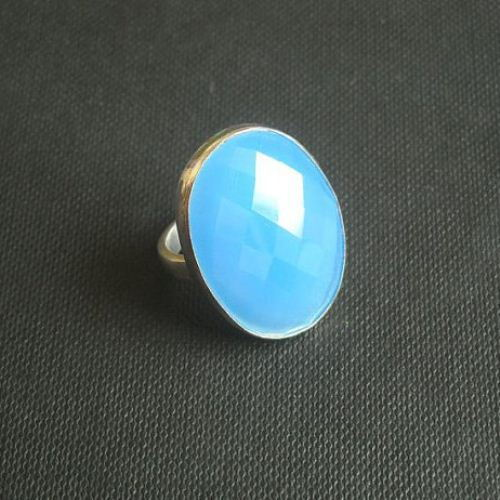 Faceted blue chalcedony ring oval