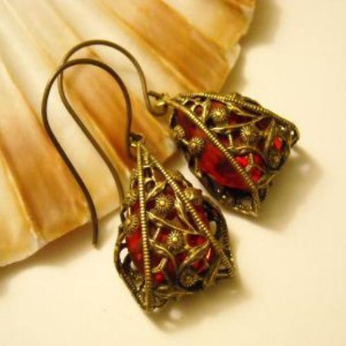 Fire Vintage swarovski crystal Red Drop filigree earrings