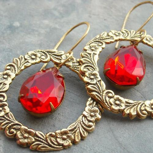 Fire red Love circle gold filled handmade earrings