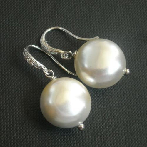 Freshwater pearl earrings in sterling