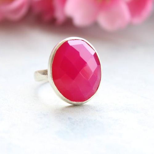 Fuschia Pink ring Pink chalcedony