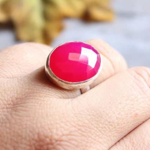 Buy Fuschia Pink Ring Pink Chalcedony Ring Sterling Silver Oval Ring Online At Astudio1980 Com