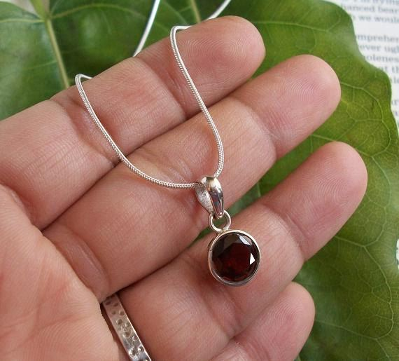 Buy one of a kind handmade garnet jewelry online at astudio1980 sterling silver garnet pendant chain red pendant january birthstone aloadofball Image collections