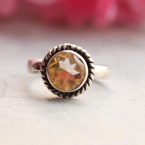 Genuine Citrine Ring Round citrine