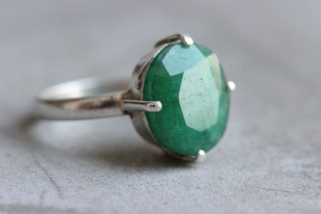 Genuine Emerald ring Green ring