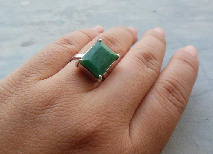 Buy Genuine Emerald ring Precious ring Sterling silver green