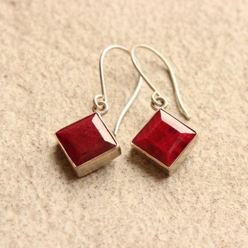 Genuine Ruby Earrings Dangle Silver