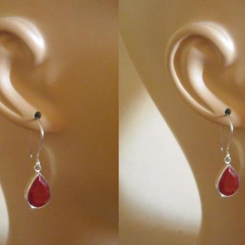 Genuine Ruby Earrings Sterling Silver Teardrop