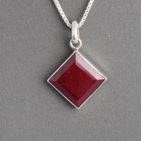 Ruby pendant - Red pendant - July birthstone pendant necklace