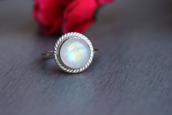 Genuine rainbow moonstone ring Gift