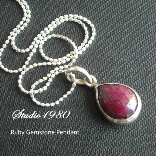 Genuine red ruby pendant chain