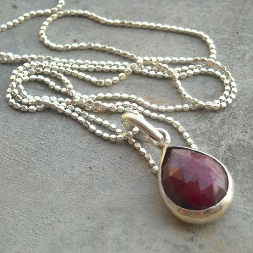 Buy genuine red ruby pendant chain silver tear drop pendant genuine red ruby pendant chain silver tear drop pendant necklace aloadofball Gallery