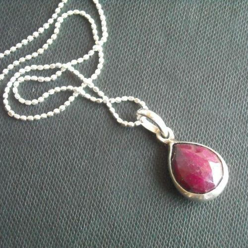 Buy genuine red ruby pendant chain silver tear drop pendant genuine red ruby pendant chain silver tear drop pendant necklace mozeypictures Gallery