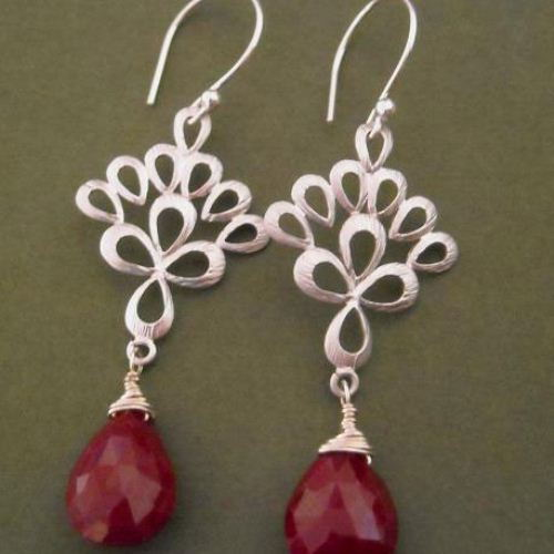 Genuine Ruby Earrings Pea Feather Gemstone Sterling Silver