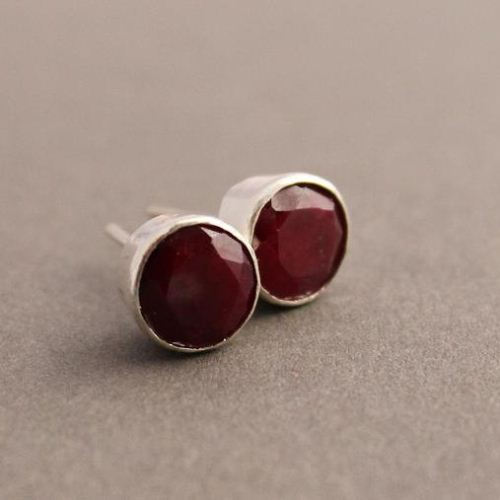 Genuine Ruby Earrings Stud Round Silver Studs
