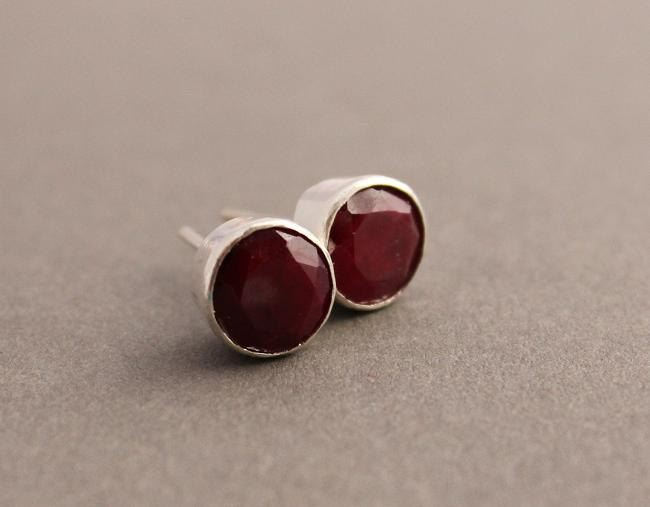 Genuine Ruby Earrings Stud Round Silver Studs Online At Astudio1980