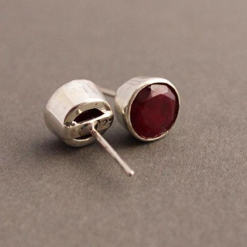 Genuine Ruby Earrings Stud Round Silver Studs