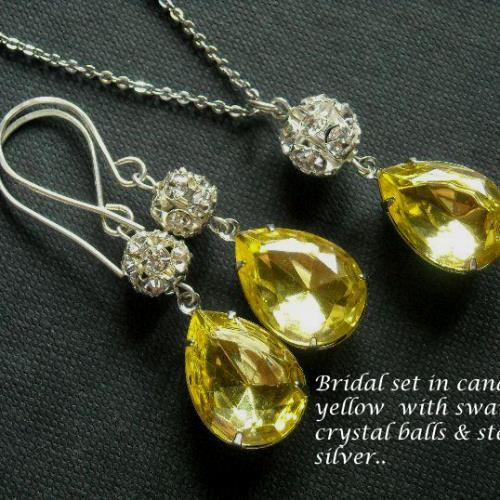 Glam Vintage canary yellow crystal bridal silver set