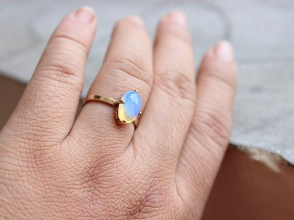 Gold Opal ring Natural Opal