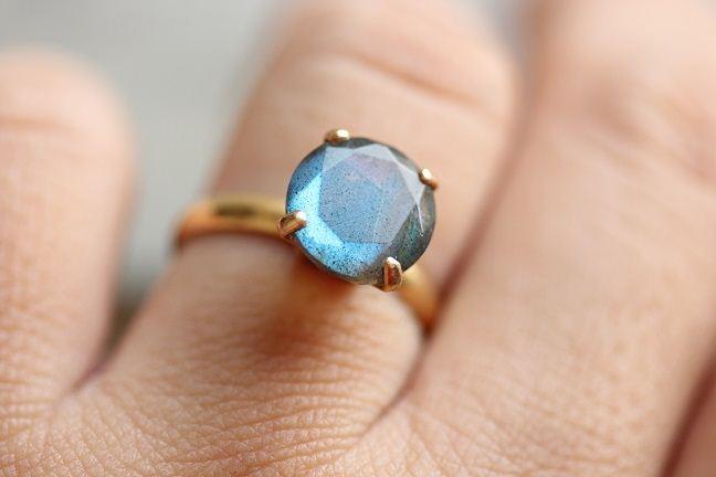 Buy Gold Ring Labradorite gold ring 18k gold engagement ring