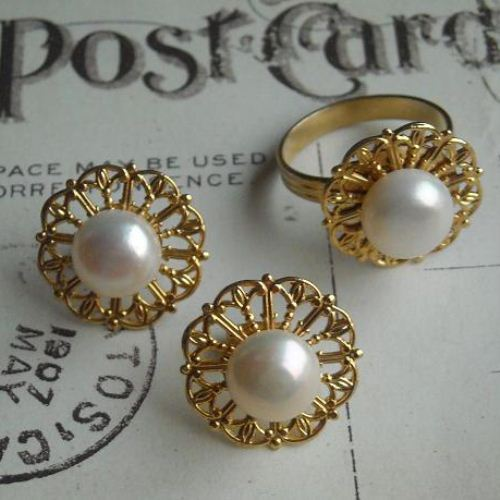 Gold Vintage Filigree Pearl Earring Ring Set