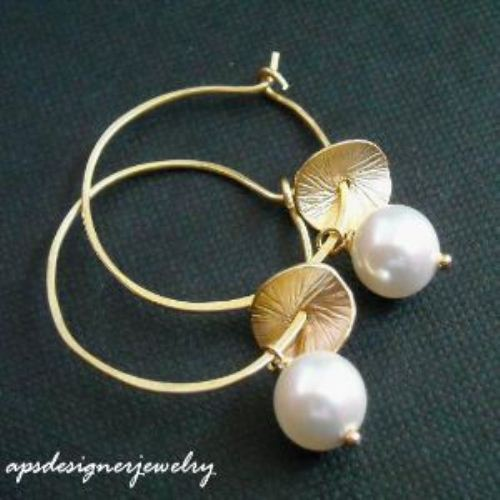 Gold Filled Swarovski Pearl Handmade Hoop Earrings