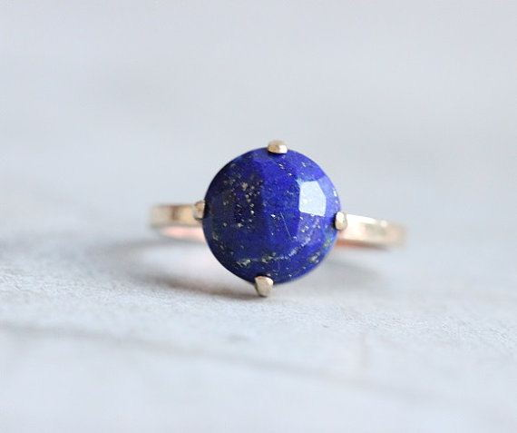 Gold lapis ring 18k gold