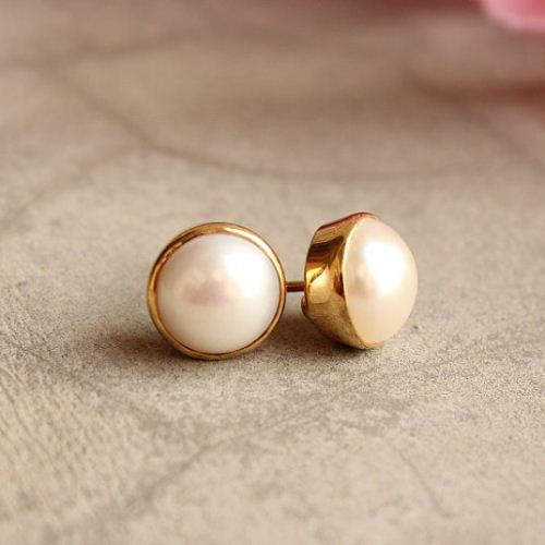 Gold Pearl Earrings 8mm Stud Modern Clic Vermeil