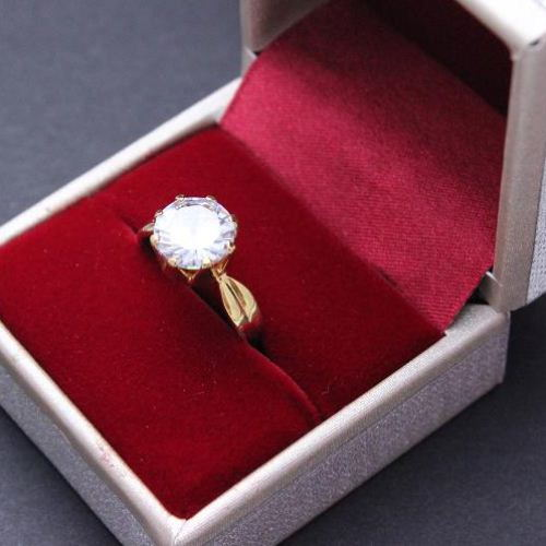 Gold plated cz ring 24k