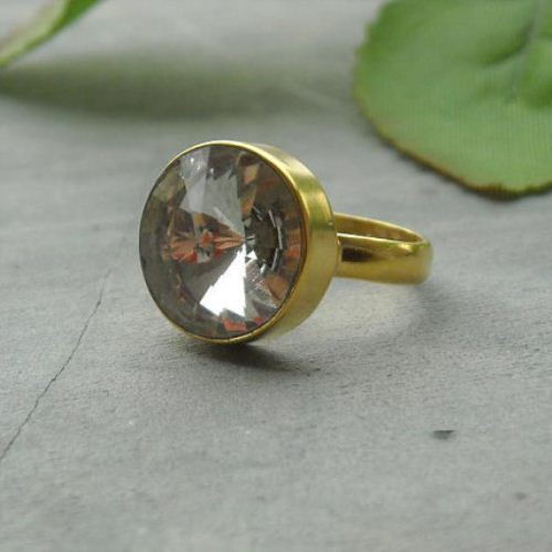 Gold ring Crystal ring