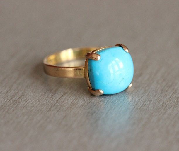 Gold turquoise ring 18k Gold