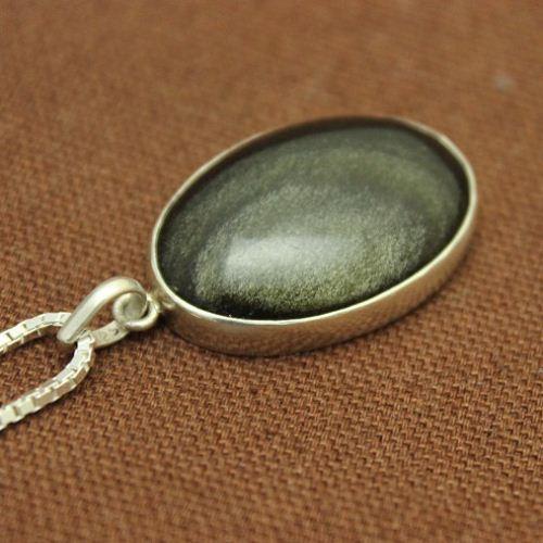 Buy golden sheen obsidian pendant black oval silver pendant golden sheen obsidian pendant black oval silver pendant necklace aloadofball Image collections