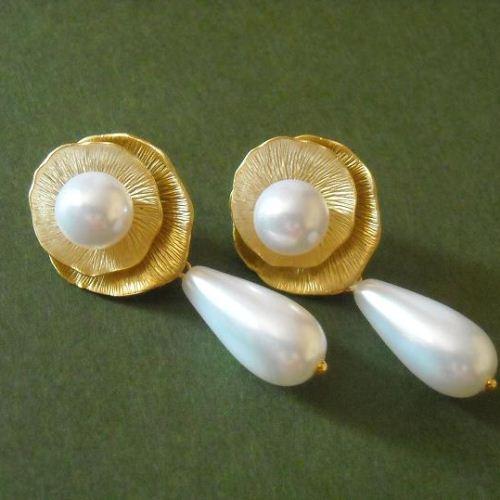 Golden Flower Lotus White Pearl Bridal Post Earrings