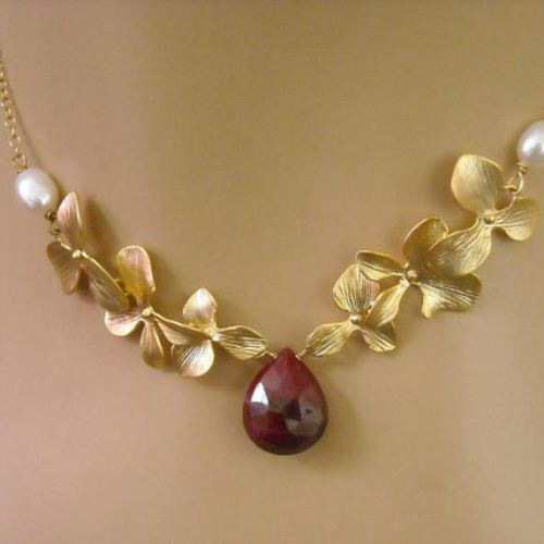 Golden orchid flower ruby necklace