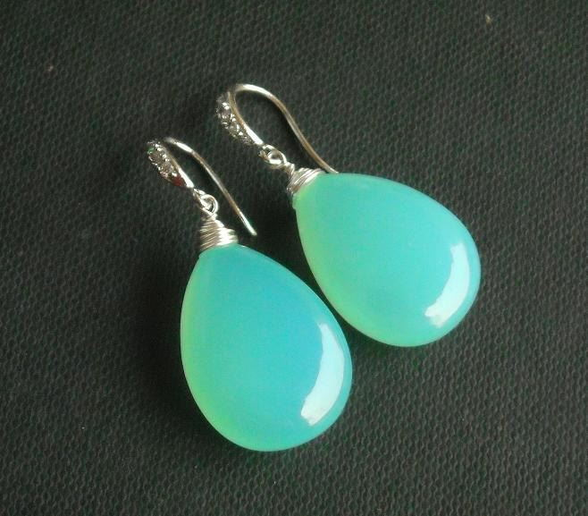 Green Chalcedony earrings Tear drop