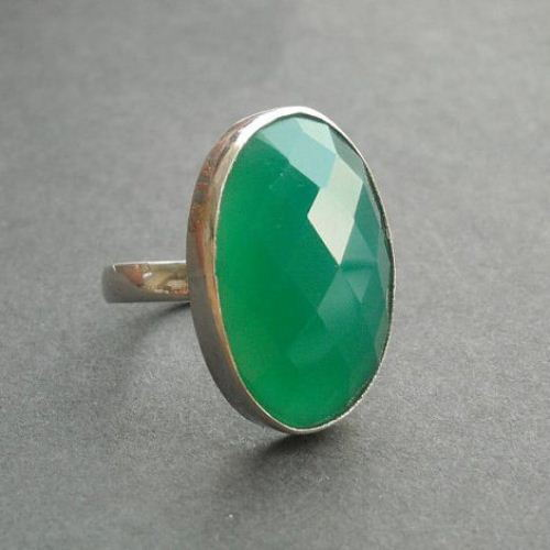 Buy Green yx ring Emerald green silver ring Oval gemstone ring