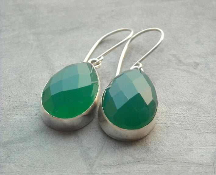 Green chalcedony earrings Faceted drop