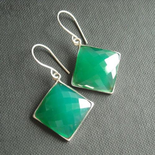Green chalcedony earrings jewelry square
