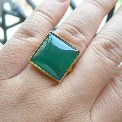 Buy Green Chalcedony Ring Emerald Green Ring 22k Gold